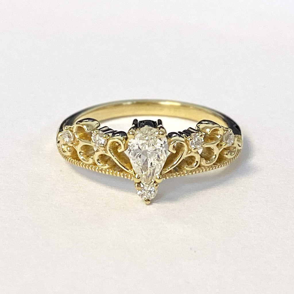 0.55 carat Pear Diamond 14K Yellow Gold Engagement Ring - Custom Made