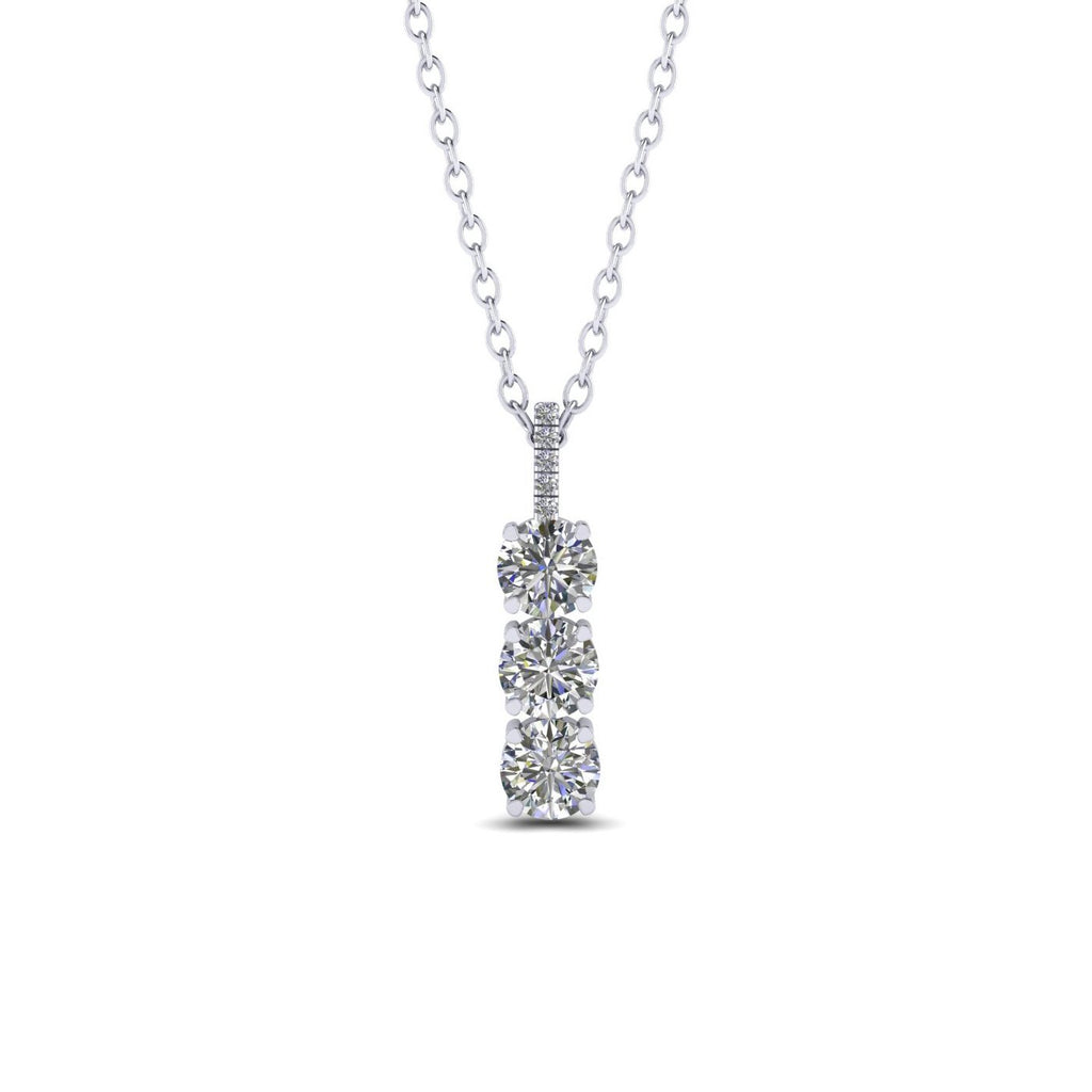 1/2 carat Diamond White Gold 3-Stone Necklace Anniversary Gift for Women - Custom Made