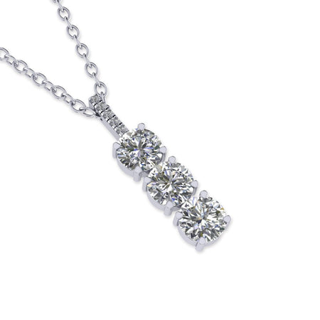Daily Deal 0.55ct Diamond White Gold 3-Stone Necklace