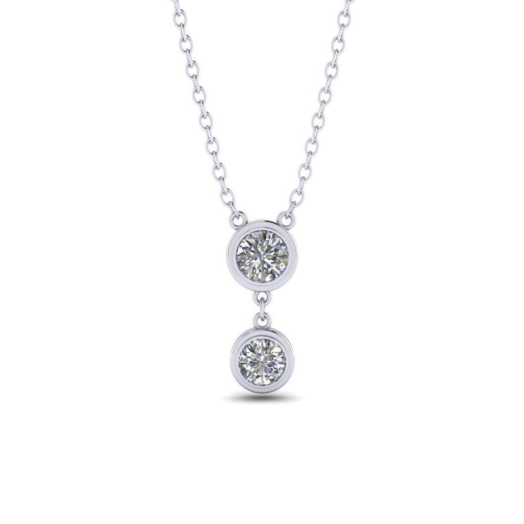 0.5ct Diamond White Gold Bezel Drop Necklace - Custom Made