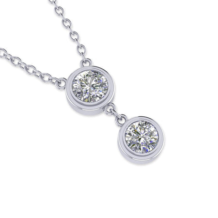 Daily Deal 0.5ct Diamond White Gold Bezel Drop Necklace