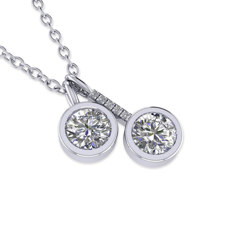 Daily Deal 0.65ct Diamond White Gold Bezel Necklace