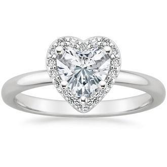 0.70 carat H-SI2 Natural Heart Diamond Halo Ring in 14k White Gold