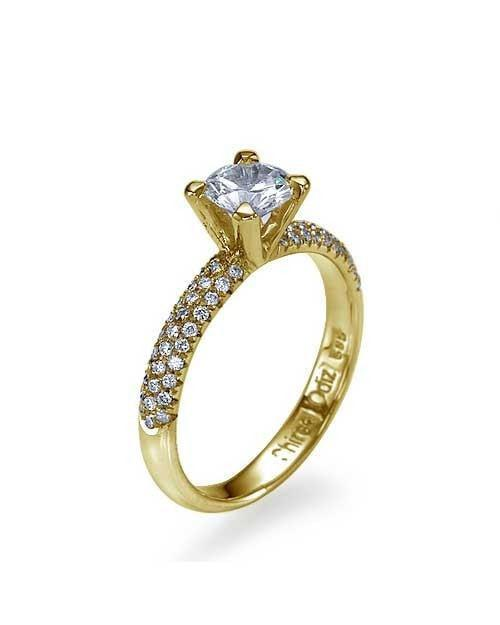 0.74ct F-VS1 NATURAL Diamond Round Engagement Ring 18K Yellow Gold - Custom Made