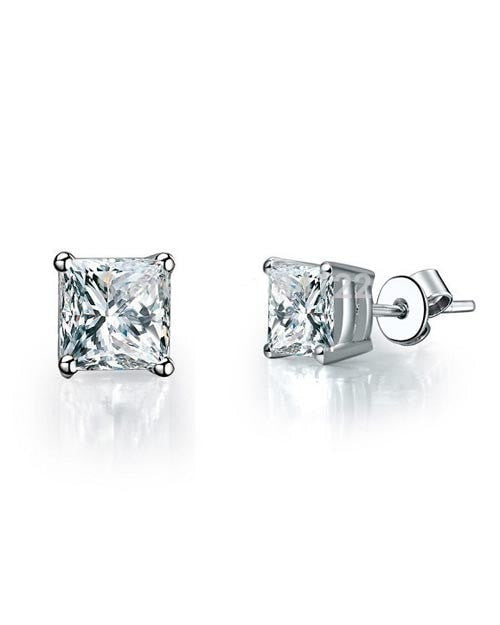 Best Birthday Gift For Her - 0.70 carat Princess Cut Diamond Stud Earrings - Custom Made