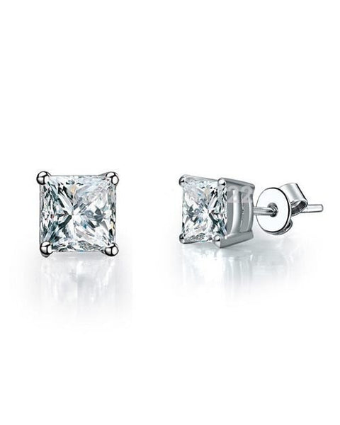 Earrings 0.75 carat Real Natural Radiant Cut Diamond Jewelry Stud Earrings