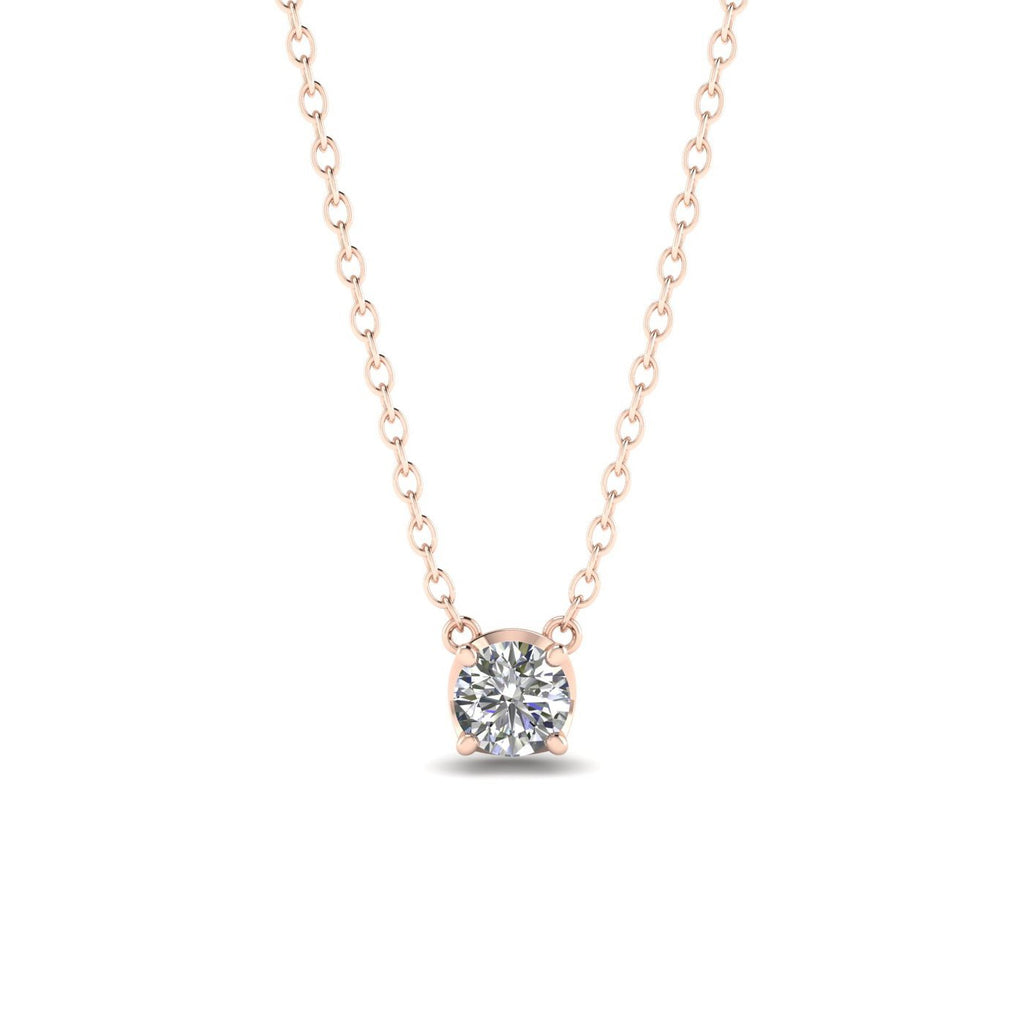 0.75ct Diamond Rose Gold Solitaire Necklace - Custom Made