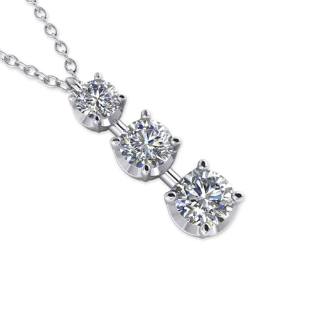 Daily Deal 0.75ct Diamond White Gold Journey Necklace