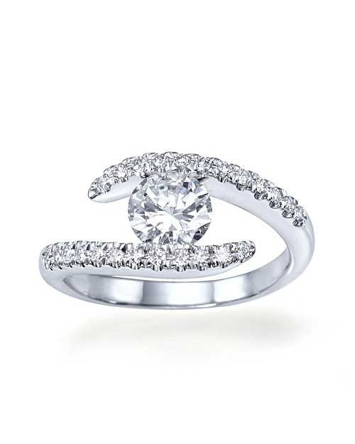 0.78 CT G VS2 Round cut Diamond Engagement ring in Platinum - Custom Made
