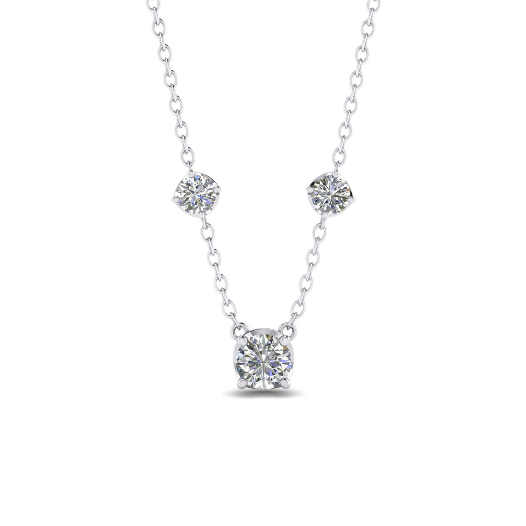 0.70 carat Real Diamond White Gold By The Yard Necklace - Custom Made