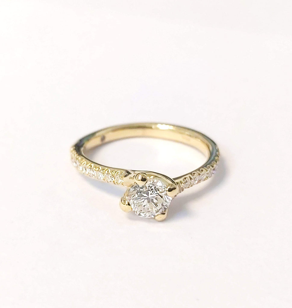 0.80 carat Round Diamond 14K Yellow Gold Engagement Ring - Custom Made