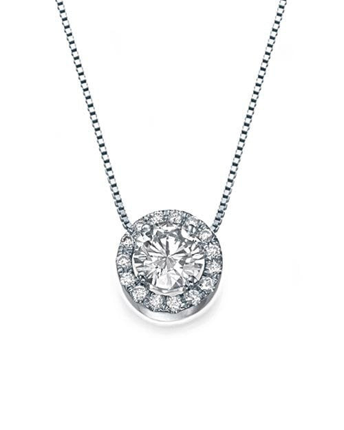 Pendants 0.80ct D/SI1 Halo Diamond Pendant Necklace in 14k White Gold