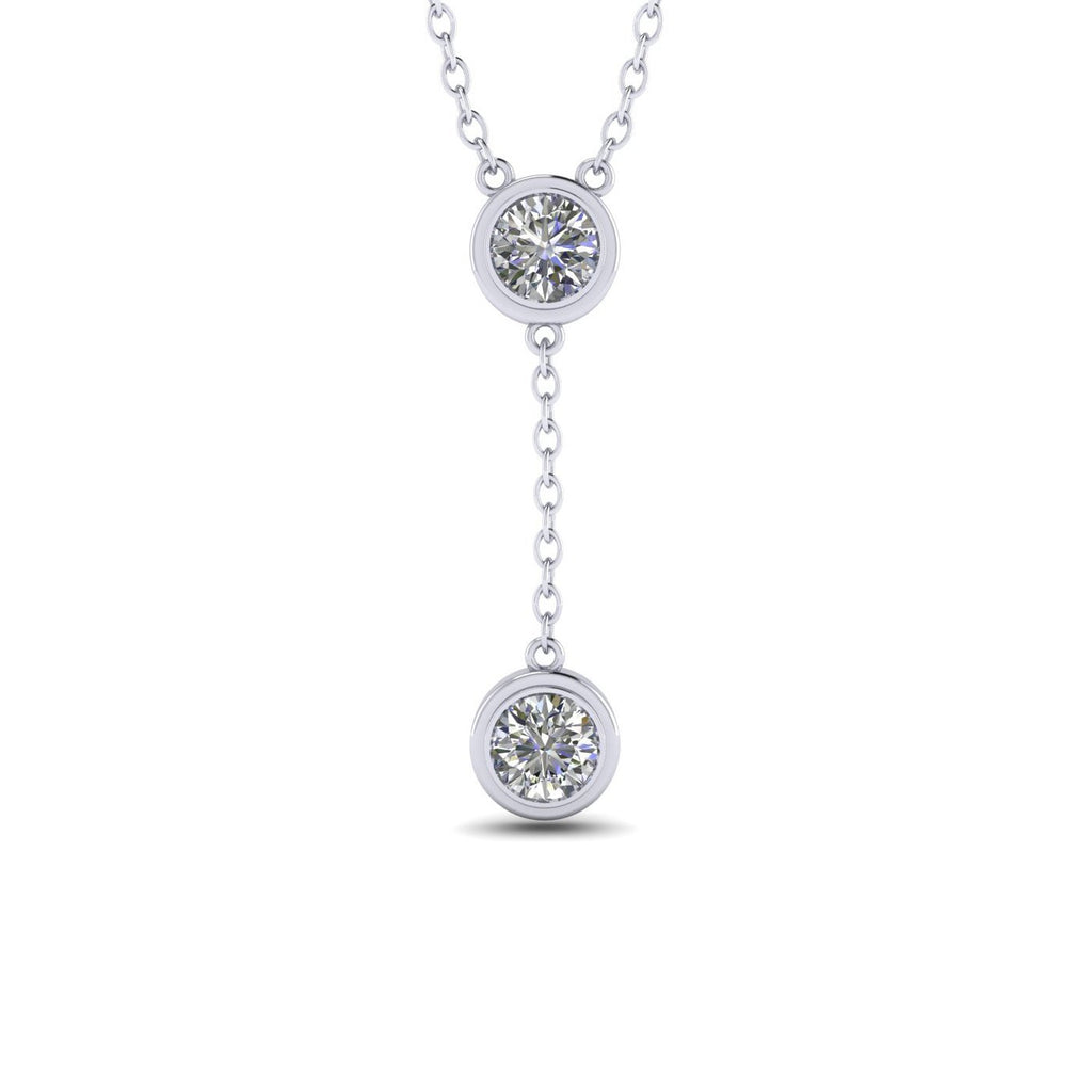 0.90 carat Bezel Drop Diamond Pendant - Custom Made