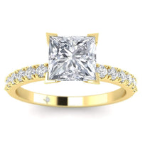 ManyChat 1.00 carat CZ French Pave Princess Cut Diamond Ring in 14k Yellow Gold