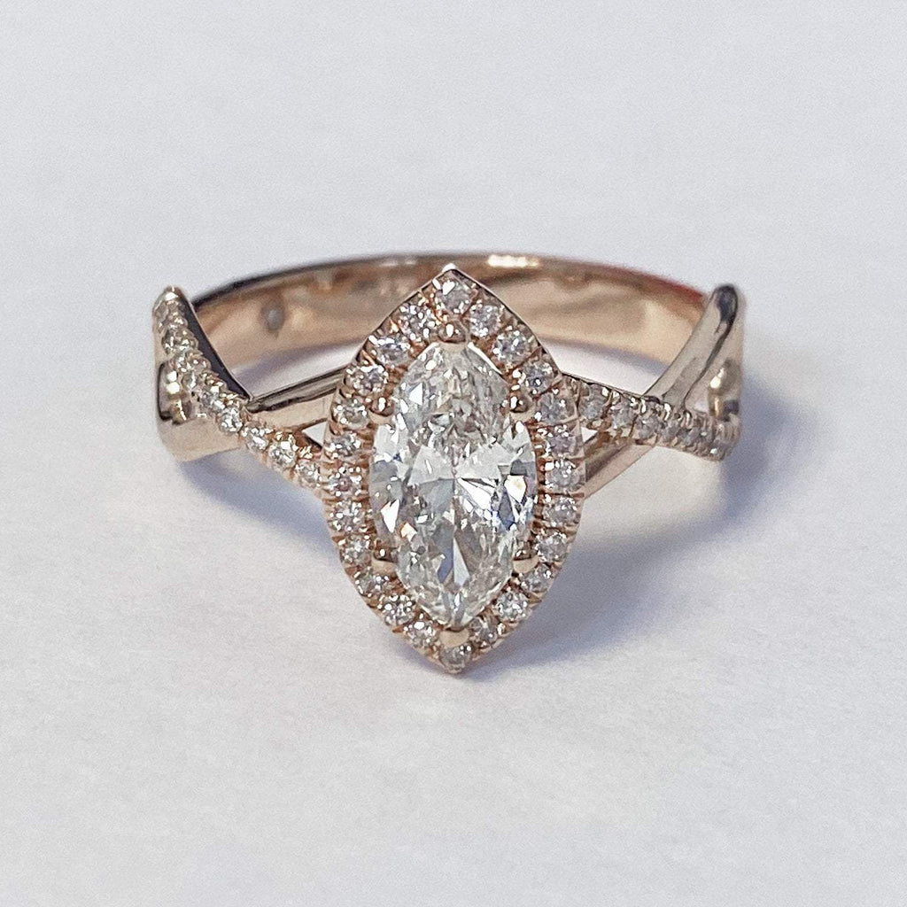 1.00 carat Marquise Diamond 14K Rose Gold Engagement Ring - Custom Made