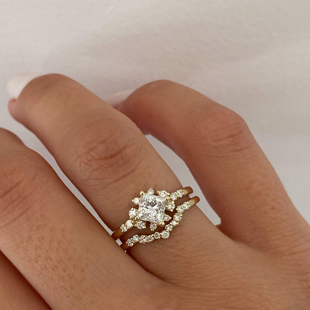1.00 carat Princess Diamond 14K Yellow Gold Vintage Style Ring Set - Custom Made