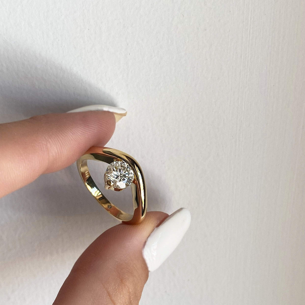 1.00 carat Unique Wave 14K Yellow Gold Diamond Ring - Custom Made