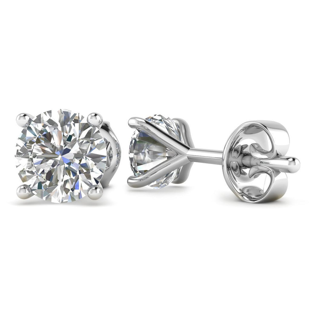 Daily Deal 1.00ct D-VS2 Diamond White Gold 4-Prong Earrings