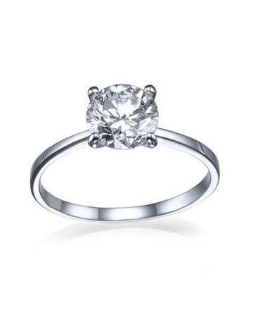 Engagement Rings 1.00ct F/SI1 Diamond(CE), Classic Thin 4-Prong Round Engagement Ring, 14k white gold