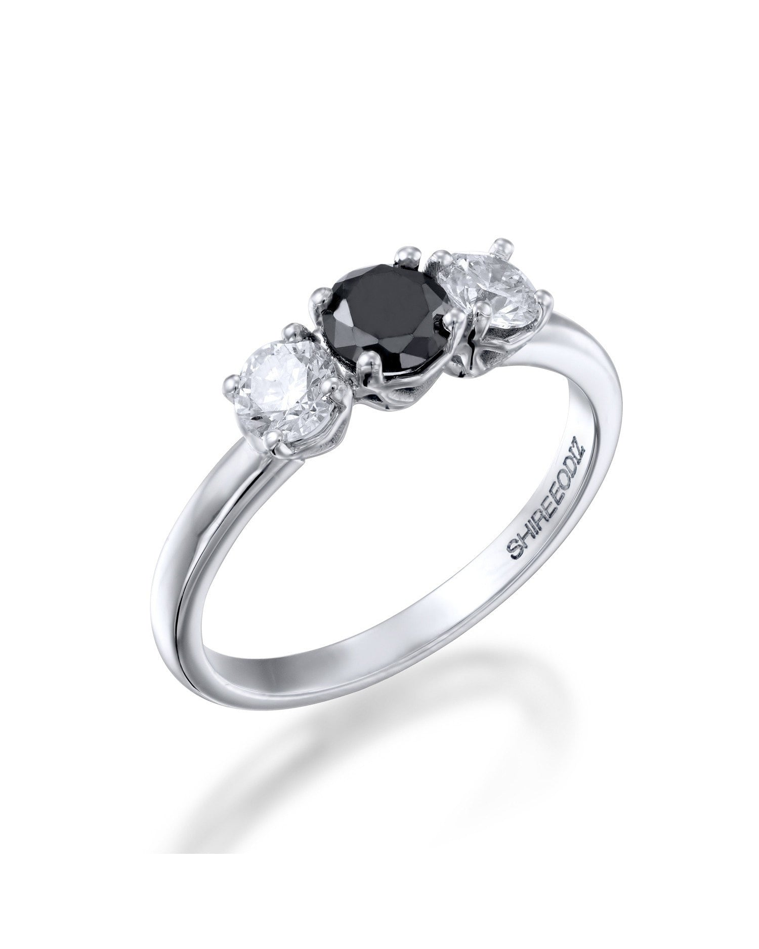 1 00ctw black diamond trilogy 3 stone engagement ring – shiree odiz