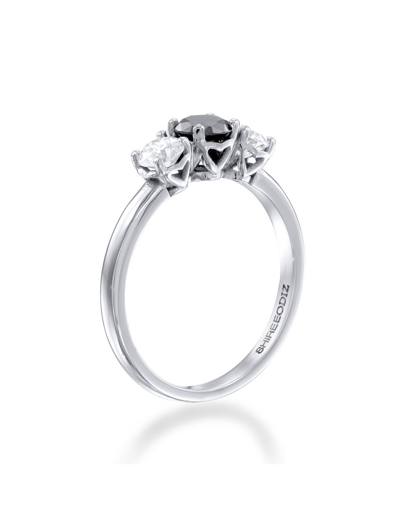1.00ctw Black Diamond Trilogy 3-Stone Engagement Ring in 14k White Gold or Platinum - Custom Made