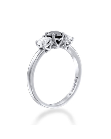 Engagement Rings 1.00ctw Black Diamond Trilogy 3-Stone Engagement Ring in 14k White Gold