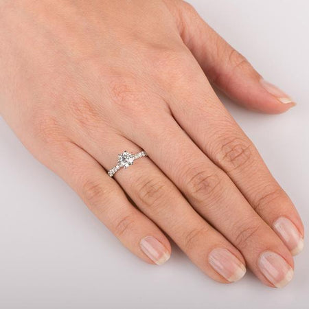 Engagement Rings 1.05 carat Tiffany Style Engagement Rings 6-Prong in 18k White Gold