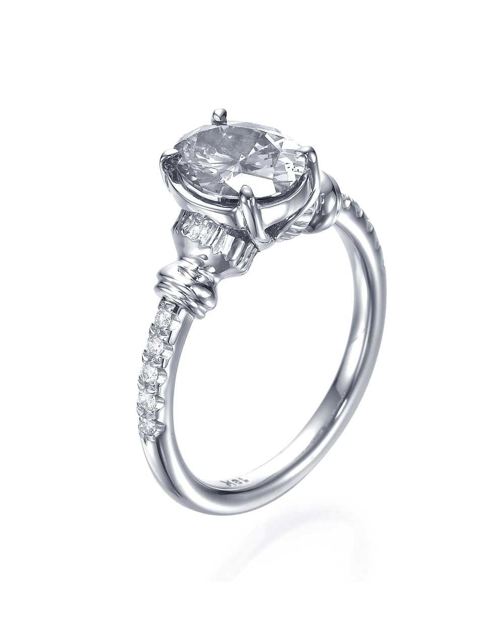 Engagement Rings 1.15 carat Oval Cut Engagement Ring - Vintage Style with Diamonds