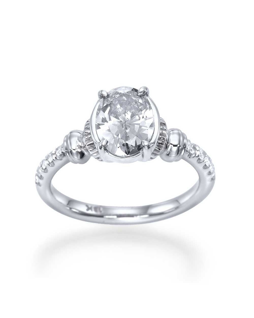 Engagement Rings 115 Carat Oval Cut Engagement Ring  Vintage Style  With Diamonds