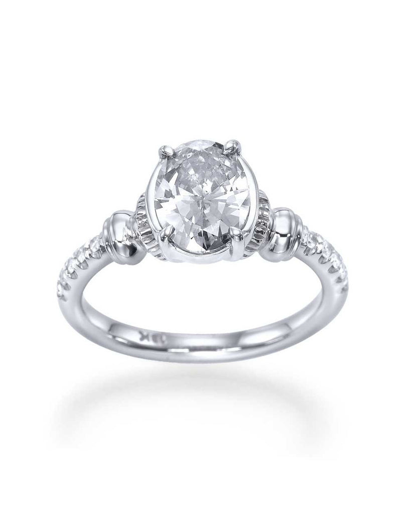 1.15 carat Oval Cut Engagement Ring - Vintage Style with Diamonds - Custom Made