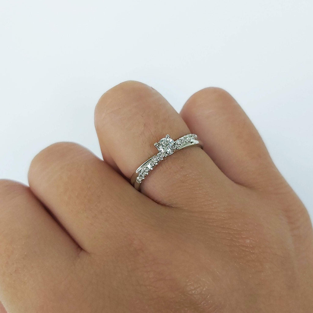 Sale 1/2 carat Crossover Diamond Engagement Ring in 14k White Gold