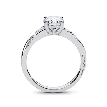 ManyChat 1/2 carat Round Diamond Pirouette Engagement Ring in Platinum size M