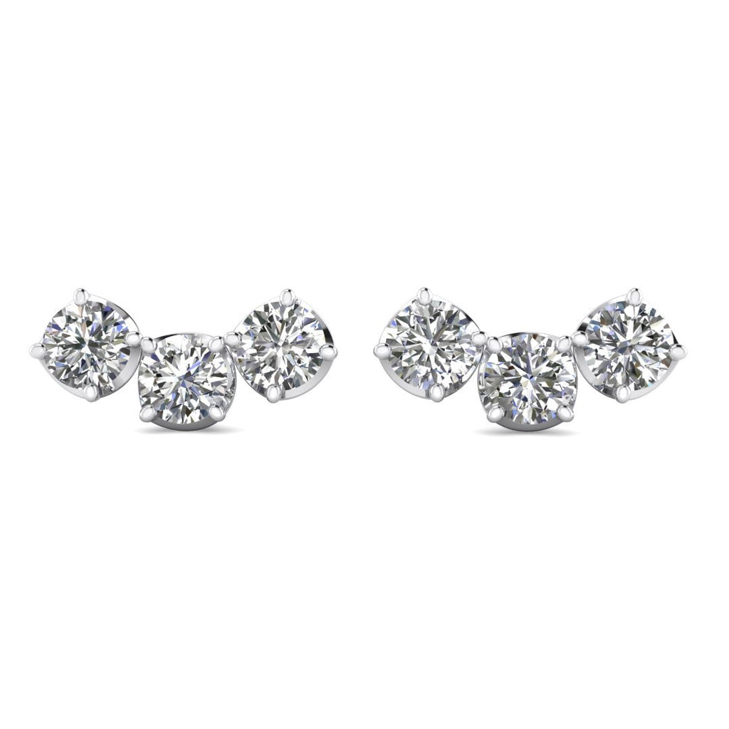 Daily Deal 1.20 carat G-VS 3-Stone Diamond Earrings