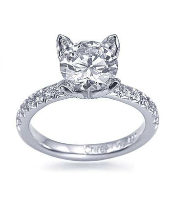 Engagement Rings 1.22ct D/VS2 18k White Gold Designer Round Cut Diamond Pave Engagement Ring