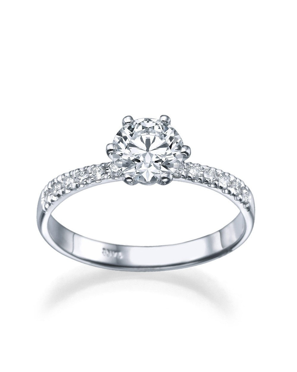 rings image rose white products product created gold engagement ring diamond cttw moissanite round jewellery