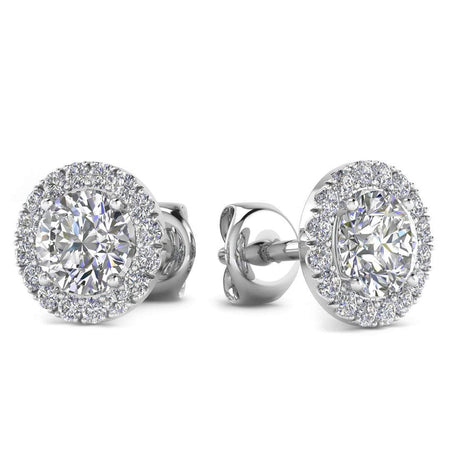 Sale 1.32 carat 14k White Gold Diamond Halo Stud Screw Back Earrings