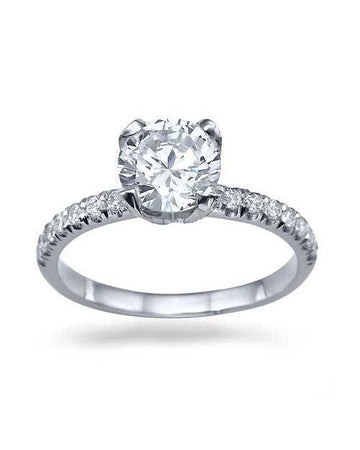 Engagement Rings 1.41ct D/SI1 White Gold Engagement Rings Round Cut Diamond Vintage