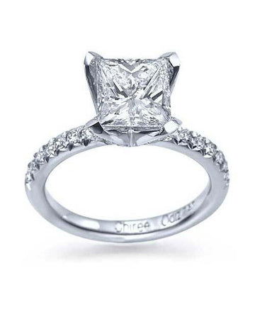Engagement Rings 1.47ct F-SI2 Princess Cut Clarity Enhanced Diamond Rings in 14K White Gold