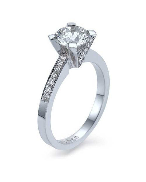 Engagement Rings 1.67 G-SI2 Enhanced Round Cut Diamond Rings 14K White Gold