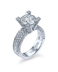 Engagement Rings 1.70ct F SI1 Pave NATURAL Diamond Engagement Ring 18K White Gold
