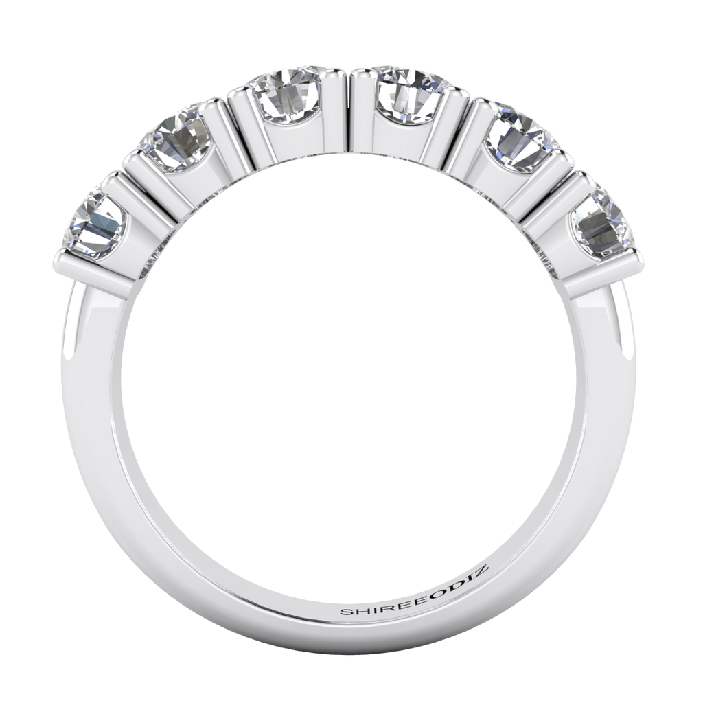 Wedding Rings 1.80 carat 5-Stone Round Real Diamond Semi-Eternity Anniversary Ring in 14k White Gold