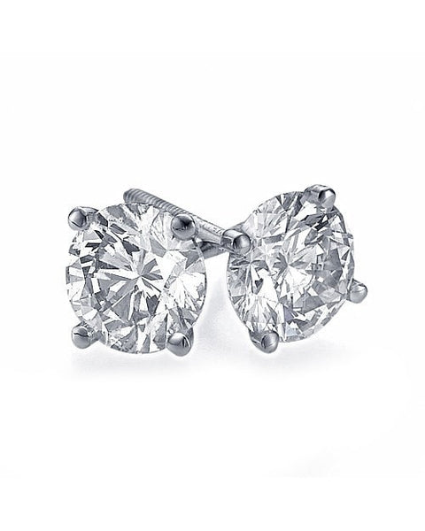 Earrings 1.9 carat AIG Certified G/VS2 Diamond Stud Earrings in 14K White Gold