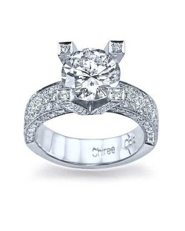 Engagement Rings 1.90ct F-VS2 Pave Diamond Engagement Ring 14K White Gold and 0.57ct Pave Diamond Matching band