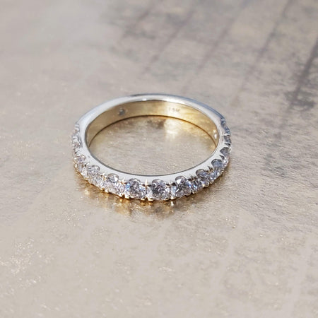 Sale 1 carat Diamond Semi Eternity Anniversary Band Ring in 14k White/Yellow Gold