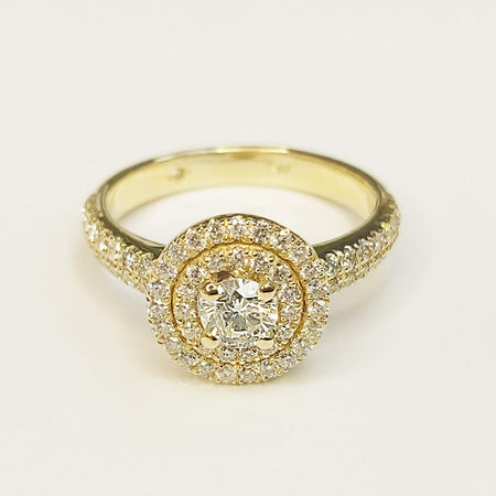 Sale 1 carat Double Halo Diamond Engagement Ring in 14k Yellow Gold