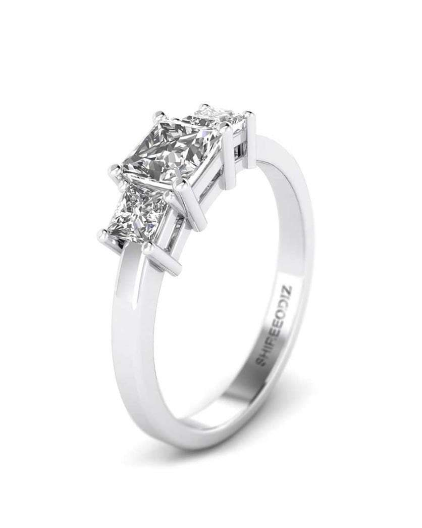 Daily Deal 1 carat Princess Cut 3-Stone Diamond Ring