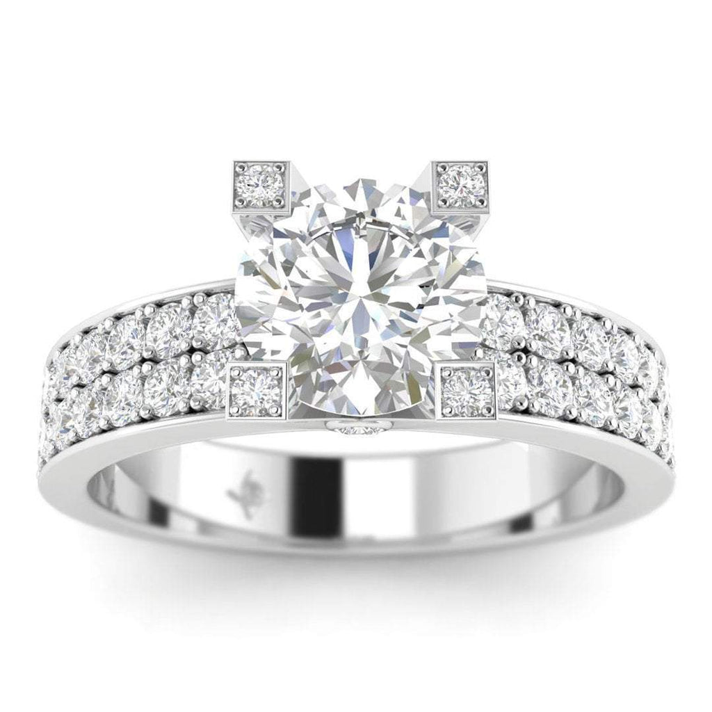 Daily Deal 1 carat White Gold French Pave Diamond Engagement Ring