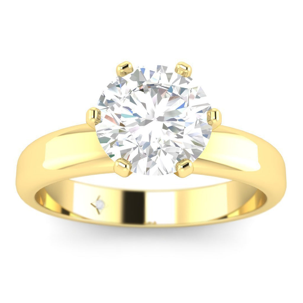 Daily Deal 1 carat Yellow Gold Wide Band Diamond Engagement Ring