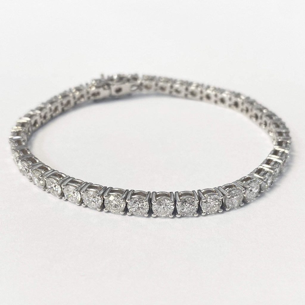 10.00 carat Natural Diamond 14K White Gold Tennis Bracelet - Custom Made
