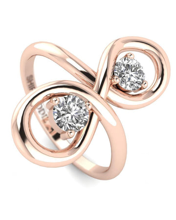 Hidden 14K 0.30 carat Real Diamond Rose Gold Promise Ring - Infinity Knot